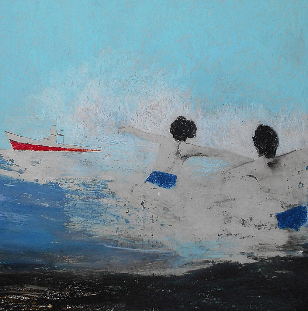 21.My son in the sea, 70x70cm, oil colour on paper, 2019