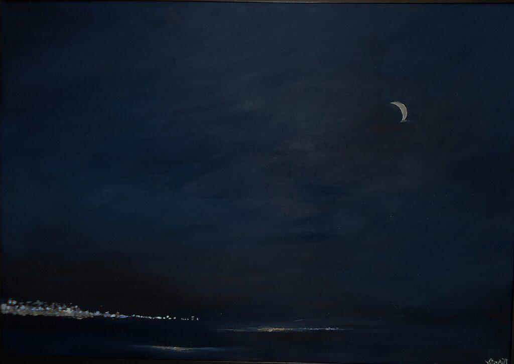 41.Summer Night in Crete,100x70cm, oil colour on paper, 2019