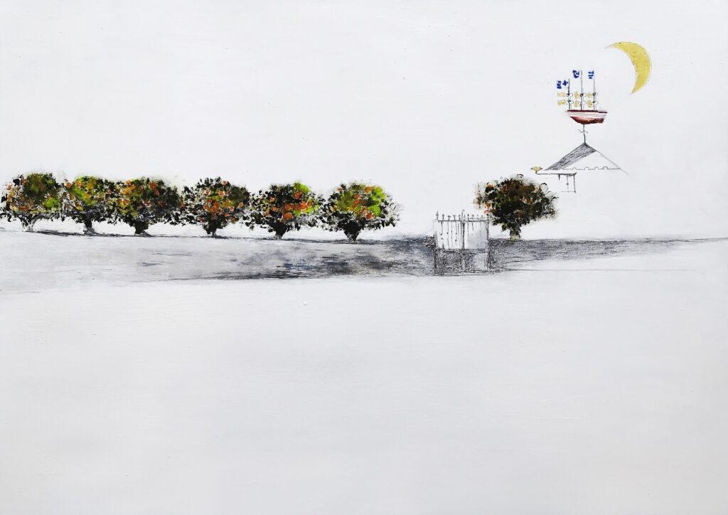 44.Garden with orange trees 100x70cm, mixed media on paper, 2020