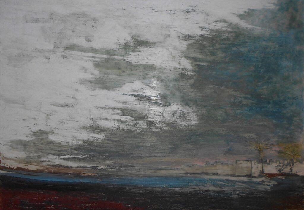 57.Landscape in south Crete, 100x70, oil pastel on paper, 2018