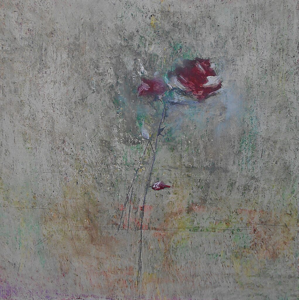 18.The rose, 70x70cm, oil pastel on paper, 2018