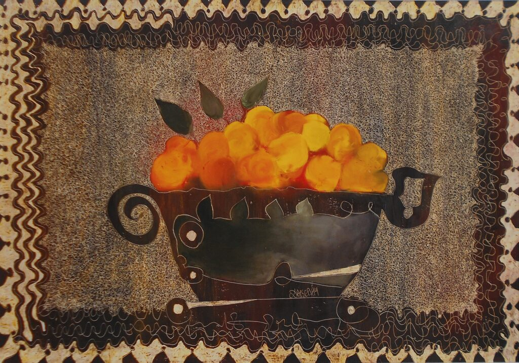 5.Still life with oranges, 100x70cm, oil colour on paper, 2019