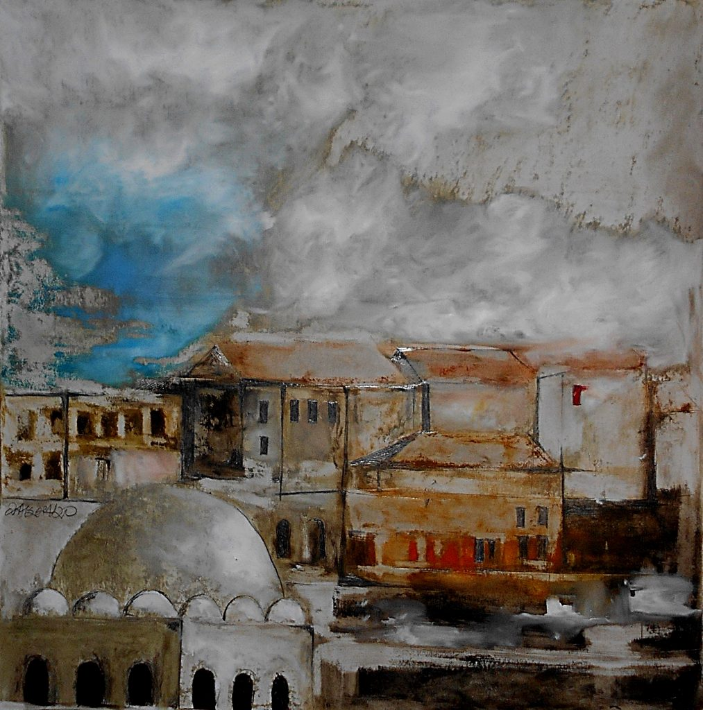 Chania, 70x70, oil colour on paper, 2020.