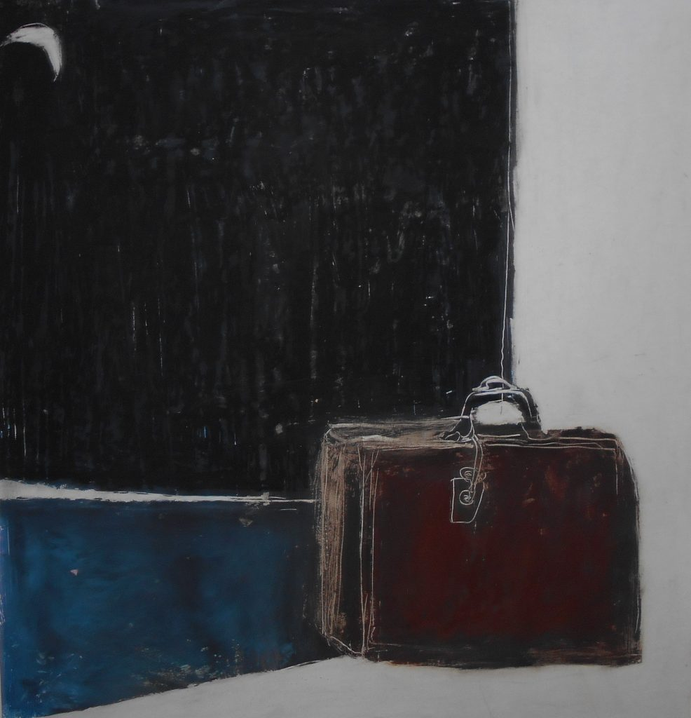 16.THE SUITCASE,35X35,OILPASTEL ON PAPER,2014