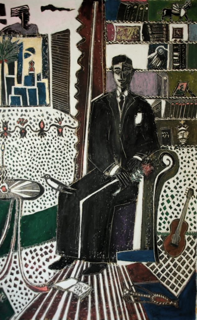 16.VISIT TO CAVAFY`S HOME,60X80,OILPASTEL ON PAPER,2013